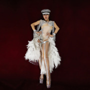 2021 Feather Lady Stage Performance Dance Suit Set Party Top Hot