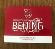 Pnc 2008 Beijing Olympics 50c Pure Silver Stamp Shaped Coin + Stamp Set