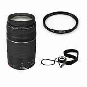 Canon Ef 75-300mm F/4.0-5.6 Iii Af Lens W/58mm Uv Filter And Lens Cap Keeper