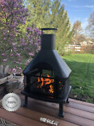 Large Outdoor Fire Pit Bbq W Cover Patio Fireplace Wood Burning Backyard Heater