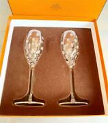 Hermes Champagne Flute Crystal Glass Pair Set Fanfare Dot Patten With Box Bz164