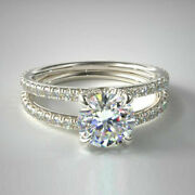 1.50 Ct Real Round Diamond Engagement Ring Solid 950 Platinum Bands Size 5 6 7 8