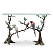 Tropical Bird Flock Glass Top Console Table Hand Painted Brass Base