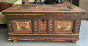 Antique Danish C1830 Hand Carved Painted Pine Blanket Wedding Chest Trunk