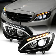 [full Led Drl]black Projector Halogen Headlights For 2015-2018 Benz W205 C Class