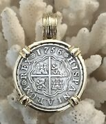 Pirate Coin Treasure Piece Of Eight Spanish Authentic 1r Set 14k Gold Pendant