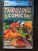 Thrilling Comics 21 Cgc Fn- 5.5 Cm-ow Classic Wwii Cover Extremely Rare