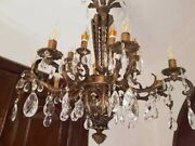 Vintage Spanish Style Rustic Solid Brass Crystal 16 Arms Tall Chandelier Fixture