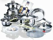 Scorpion Mh-9001 16pcs Stainless Steel Millerhaus Cookware Cooking Set By Swiss