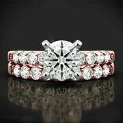 1.10 Ct Real Diamond Engagement Ring Set Solid 14k Rose Gold Band Size 7 8 9