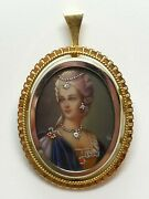 Corletto Solid 18k Gold Real Diamond Hand Painted Portrait Pendant Brooch Italy