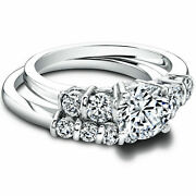 Special Sale 1.40 Ct Real Diamond Wedding Ring 14k Fine White Gold Band Set 7 8