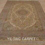 5and039x8and039 Handknotted Silk Rug Gold Washed Antique Living Room Floral Carpet 1015
