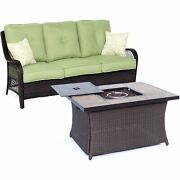 Orleans2pc Fp Seating Set Sofa, Fire Pit Coffee Tbl - Brown/green