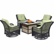 Orleans5pc Fire Pit 4 Swivel Gliders Square Kd Fire Pit W/tile - Green/tile