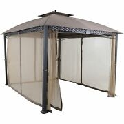 Hanover Aster Aluminum And Steel Gazebo With Mosquito Netting Tan 9.8and039 D X ...