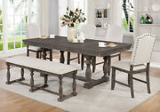 Standard Height Rectangular Dining 6-pc Set Relaxed Vintage Style Wooden Fabric