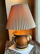 Vtg Ethan Allen Brass And Copper Caldron Table Lamp W/mcm Pleated Stiffel Shade