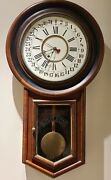 Antique Working New Haven And039calendarand039 Round Top School House Regulator Wall Clock