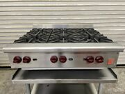 36 Hot Plate 6 Open Flame Nat Gas Burner Stove Top 180k Btu Wolf Ahp636 6588