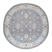 15and039x15and039 Gray Peshawar With Heriz Design Shiny Wool Round Hand Knotted Rug G67184