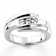 0.30 Ct Real Diamond Engagement Ring 14k Solid White Gold Mens Band Size 9 10 11