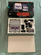 Snes Super Nintendo Console W/ Excellent Box And 2 Controllers Tested Ships Fast