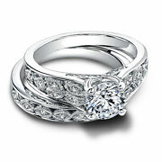 14k White Gold 1.50 Ct Natural Diamond Engagement Rings Band Sets Size 5 7 601