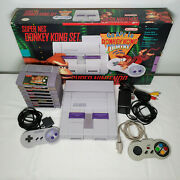 Super Nintendo Snes System With Original Box, 2 Controllers, And 8 Games