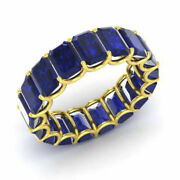 3.40 Ct Natural Blue Sapphire Gemstone Eternity Bands 14k Yellow Gold Size 5.5 7