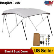 4bow 8and039l X 73-78 W 54high W/ Rear Poles Bimini Top Boat Cover Water Uv Proof