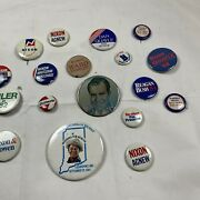 Campaign Button Lot Of 18 ,nixon , Reagan, Quayle, Bush, Goldwater, And Others.