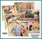 """Set Of 6 Us Original Lobby Cards Of Buster Crabbe In """"king Of The Jungle 1933"""