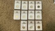 Complete 11 Lot Of 1942-1945 Rare Wartime Silver Nickels W/ 4 Error Coins