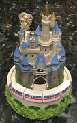 Vintage Disney Cinderella's Castle With Moving Monorail Music Box 8.5 Rare