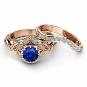 2.2 Ct Natural Diamond Blue Sapphire Gemstone Band Solid 14k Rose Gold Ring M N