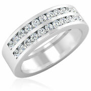 0.88 Ct Certified Diamond Engagement Rings 14k White Gold Menand039s Band Size 8 9 10