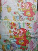 Vintage 1980 Strawberry Shortcake Twin Size Flat Fitted Sheets Fade Elastic Shot