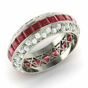 Real 14k White Gold 3.5ct Natural Diamond Ruby Gemstone Rings Size 5.5 6 894