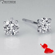 1.06 Ct Solitaire Diamond Earrings Women White Gold Si1 Msrp 6500 32351386