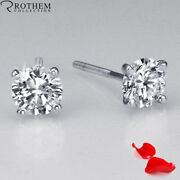 1.47 Ct Solitaire Diamond Earrings Women White Gold Si2 Msrp 6200 32351751