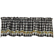 New Country Farmhouse Cottage White Black Check Sunflower Valance Curtains 72