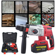 Cordless Electric Impact Driver Hammer Drill Combo Tool Kit 68v Battery 1050 Rpm