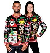 Socal Look Womenand039s Ugly Christmas Sweaters Santa Clause Snowman Black