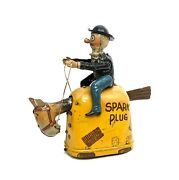 Vintage Nifty King Features Spark Plug And Barney Google Tin Wind-up 1923 Works