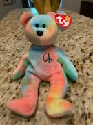 Ty Peace Bear Beanie Baby 1996 Retired Rare Color Pattern