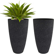 Tall Planters Outdoor Indoor - Specked Black Flower Plant Pots 20 Inch Set Of 2