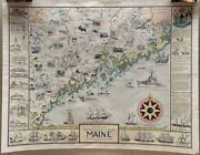 Vintage 1952 Ruth Lepper Western, Central And Eastern Maine Coast Pictorial Map