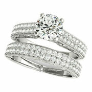 Real 1.08 Ct Diamond Womenand039s Wedding Band Set 14k Solid White Gold Size 5 6 8.5
