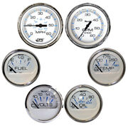 Faria Chesapeake White W/stainless Steel Bezel Boxed Set Of 6 - Speed Tach ...